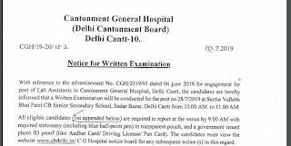Delhi Cantonment Board Lab Assistant Answer Key 2019 & Question Paper PDF