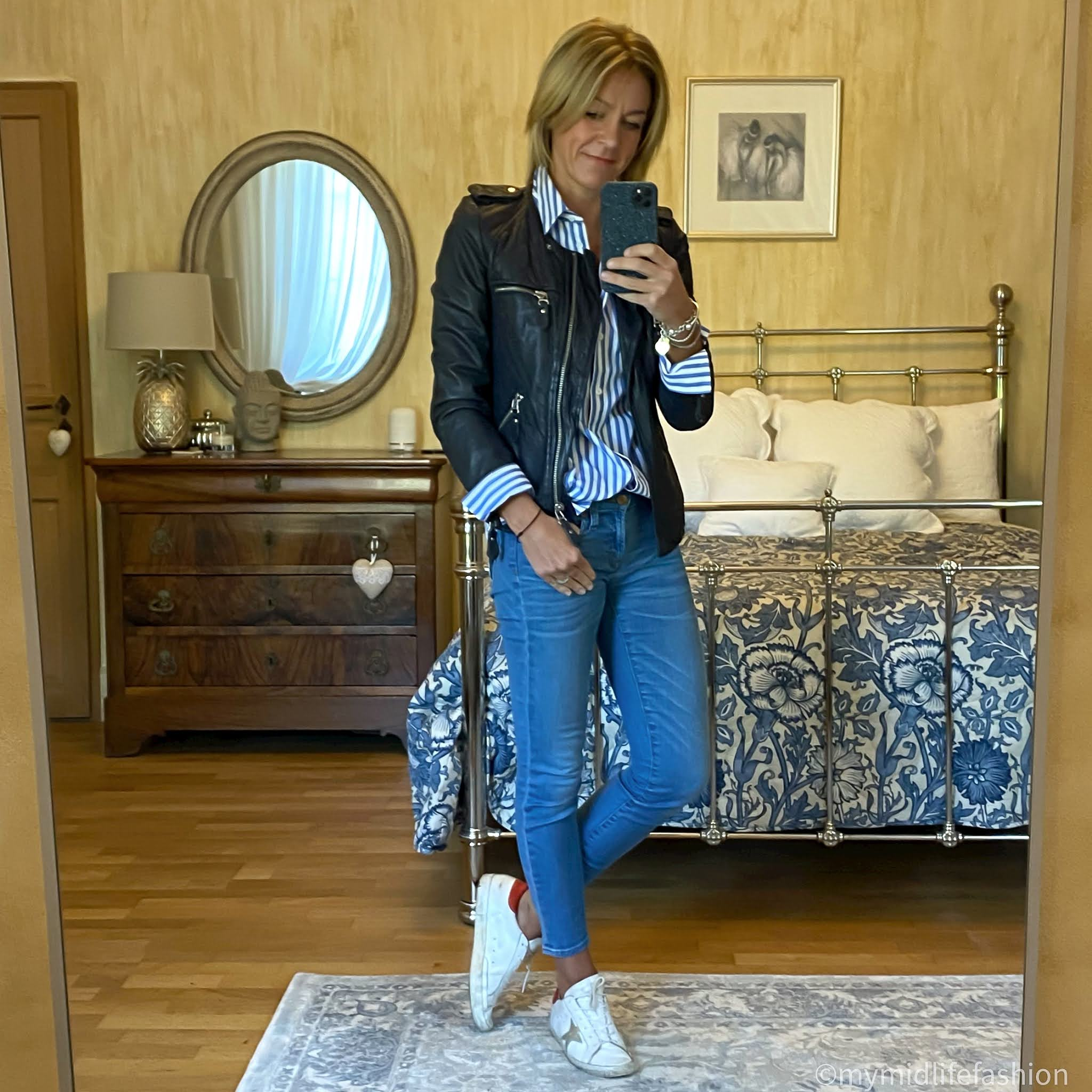 my midlife fashion, Isabel Marant Etoile leather jacket, and other stories stripe oversized shirt, j crew 8 inch toothpick skinny jeans, golden goose superstar low top leather trainers