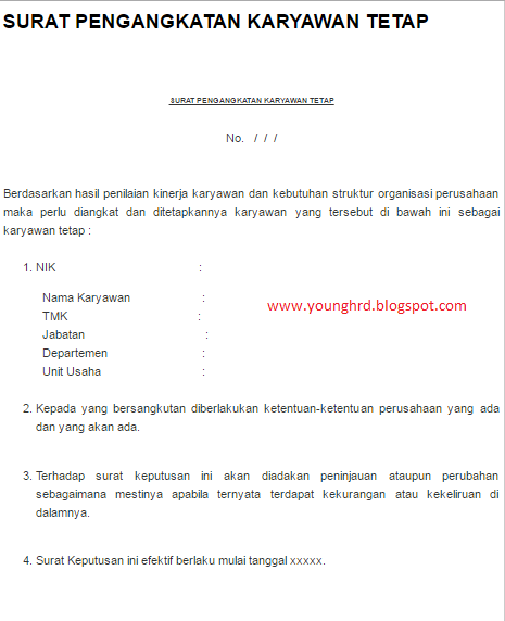 Surat Pengangkatan Karyawan Tetap Young Hrd Indonesia