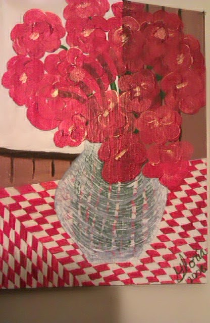 """Poppies"" acrylic painting by Gloria Poole  in yr 2006"
