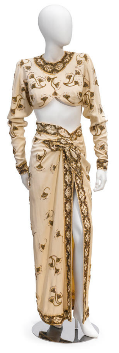 Two piece dance costume worn by Rita Hayworth in Gilda displayed on mannequin