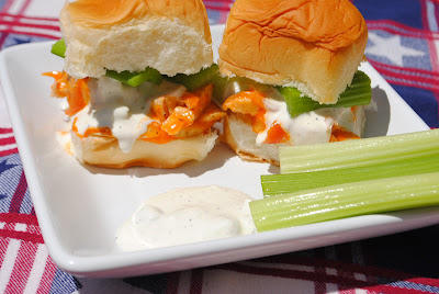 Buffalo Chicken Sliders with homemade blue cheese and celery sticks