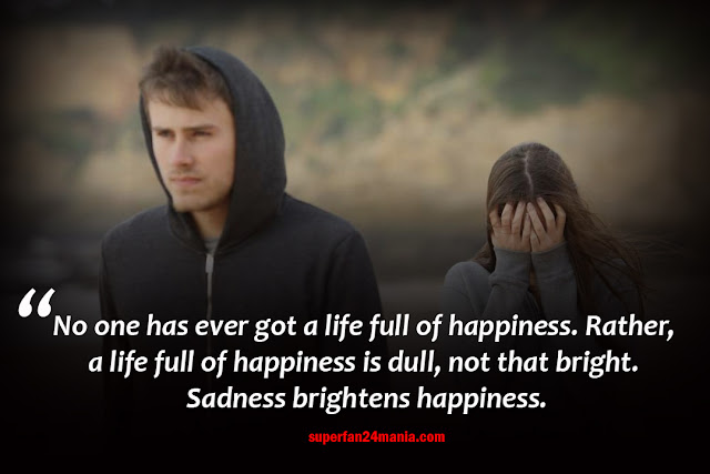No one has ever got a life full of happiness. Rather, a life full of happiness is dull, not that bright. Sadness brightens happiness.