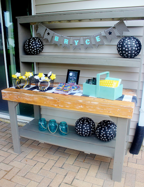 Multi-Use Outdoor Furniture: Old, Beat-Up Potting Bench Turned Party Serving Station | Paint Color-Anonymous Grey and Stain Color is Golden Pecan | Delightfully Noted #miniwax #sherwinwilliams