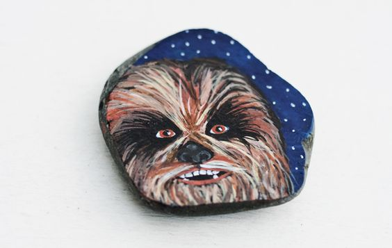 Chewbacca painted rock by Holly B Hadfield of Art by Holly B on Etsy