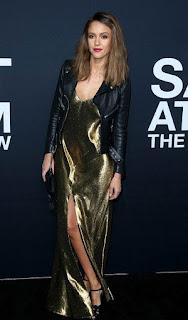 Jessica Alba, leather jacket, event