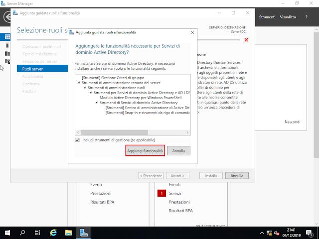 Windows Server 2019, Aggiungere le funzionalità necessarie per Servizi di dominio Active Directory