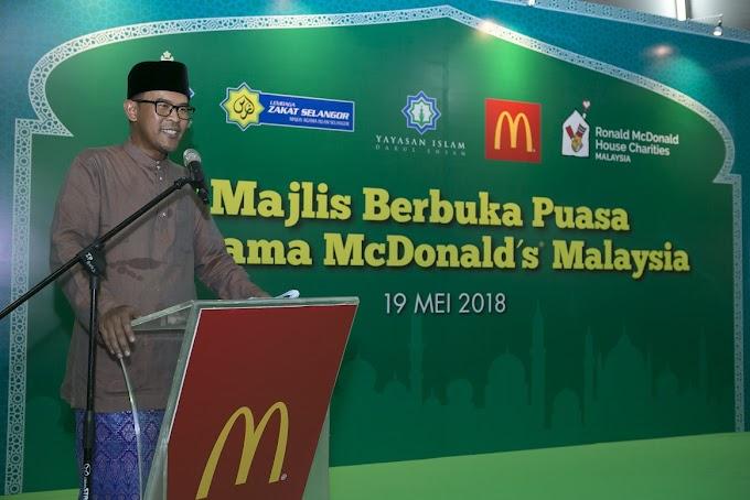 McDonald's Malaysia dengan kerjasama Majlis Agama Islam Selangor (MAIS), Lembaga Zakat Selangor dan Yayasan Islam Darul Ehsan (YIDE) rai lebih 500 anak-anak yatim dan asnaf untuk berbuka puasa.