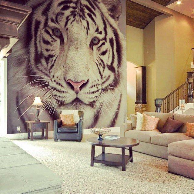 fototapet vit tiger