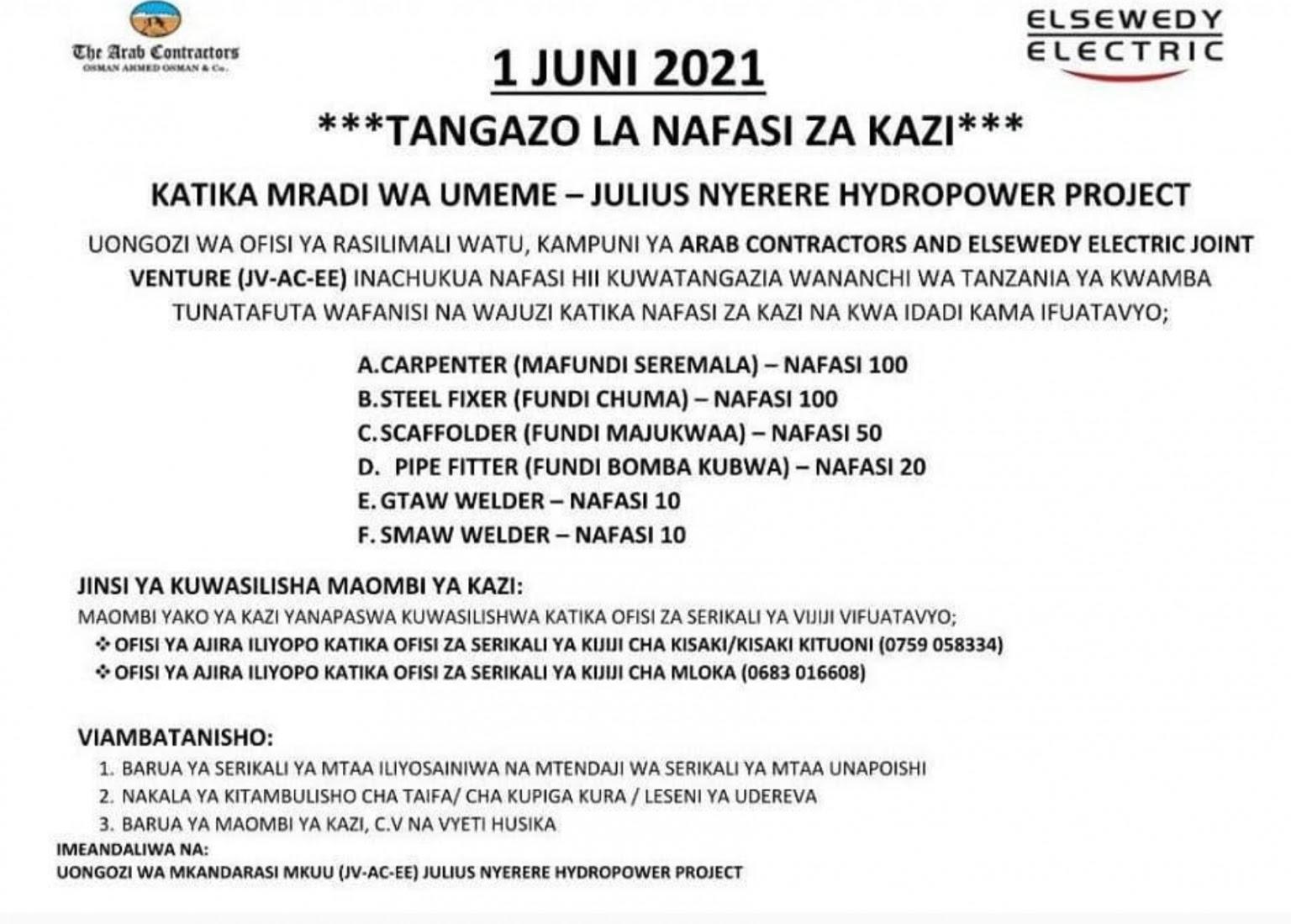 290 Various Jobs ufundi at JVACEE Stiglers Gorge Project June 2021