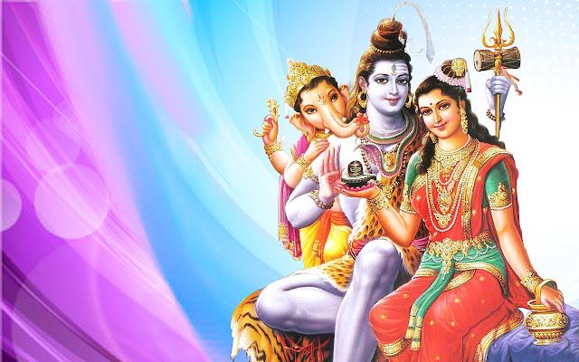 Best Lord Shiva With Parvati & Ganesha  Wallpaper