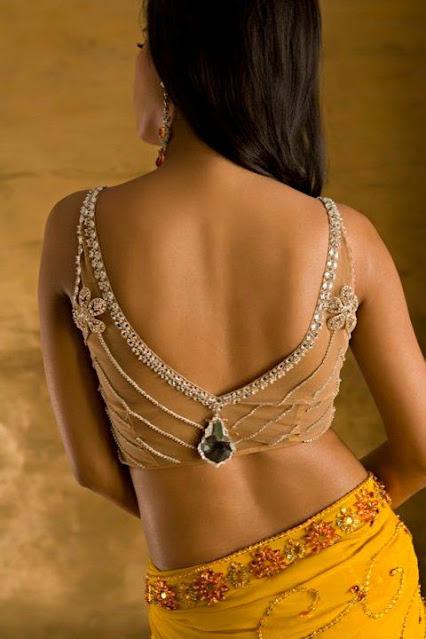 Back V Neck Deep Blouse Designs patterns for saree, lehengas