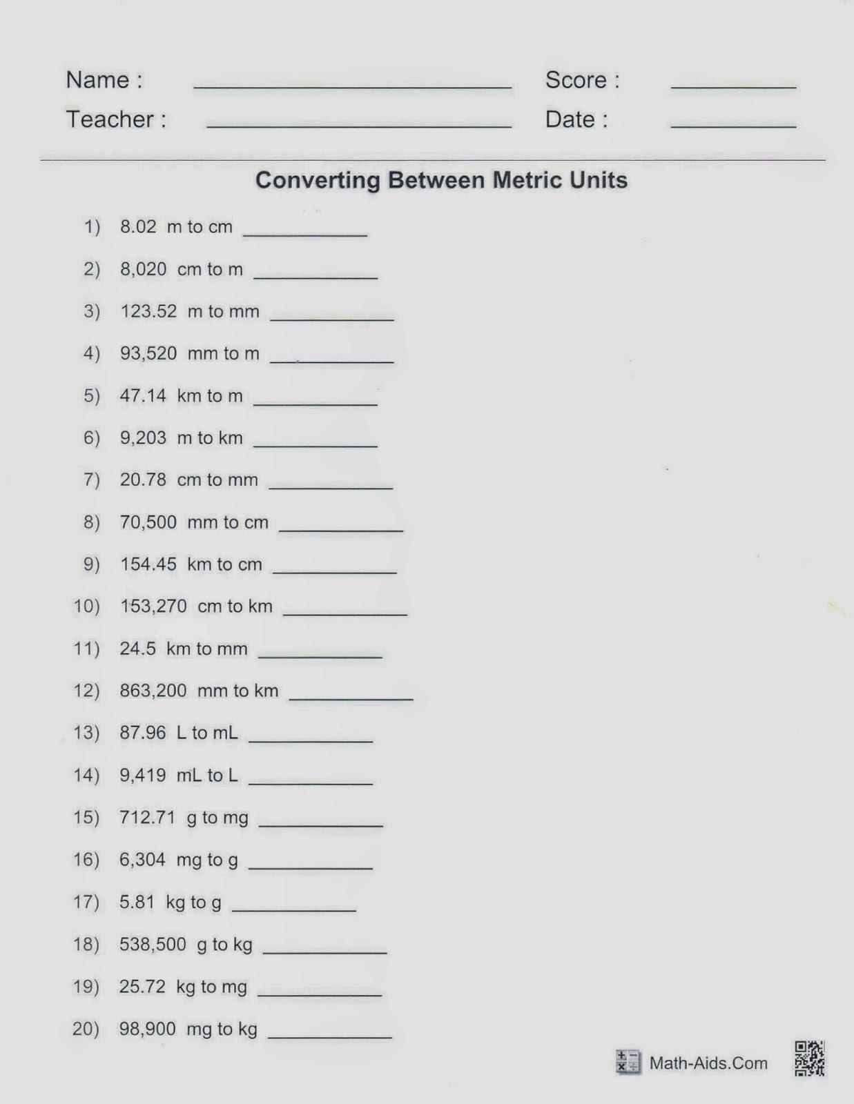 Mrs White S 6th Grade Math Blog Converting Metric Units
