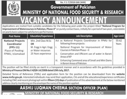 Jobs in Ministiry of National Food Security