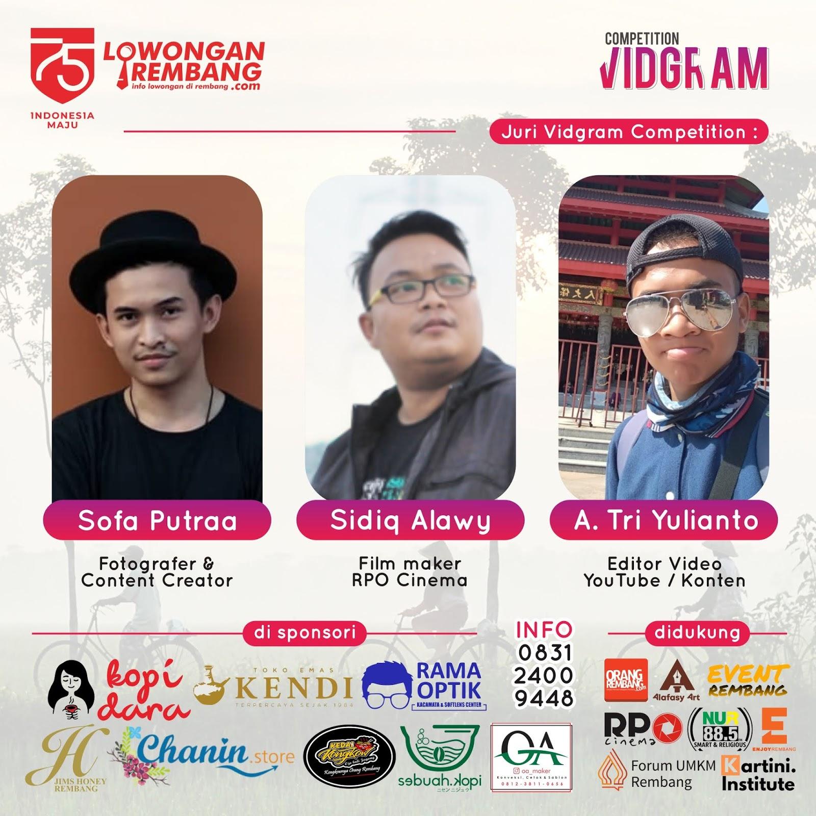 PENGUMUMAN Para Juara Vidgram Competition Yang Memenangkan Total Hadiah Juatan Rupiah