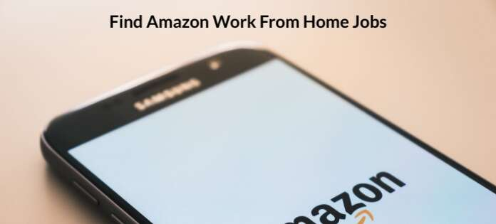 Find Amazon work from home jobs, iPhone with Amazon logo.
