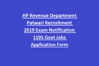 HP Revenue Department Patwari Recruitment 2019 Exam Notification 1195 Govt Jobs Application Form