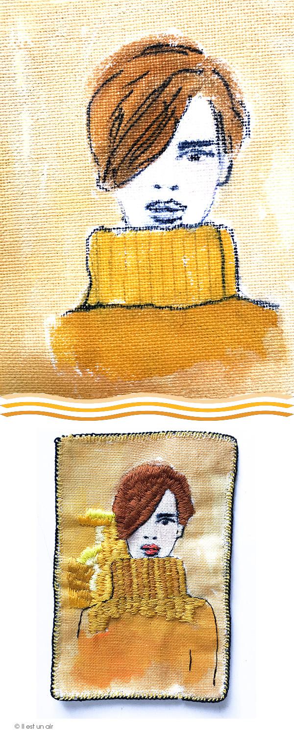Broderie : femme au pull jaune