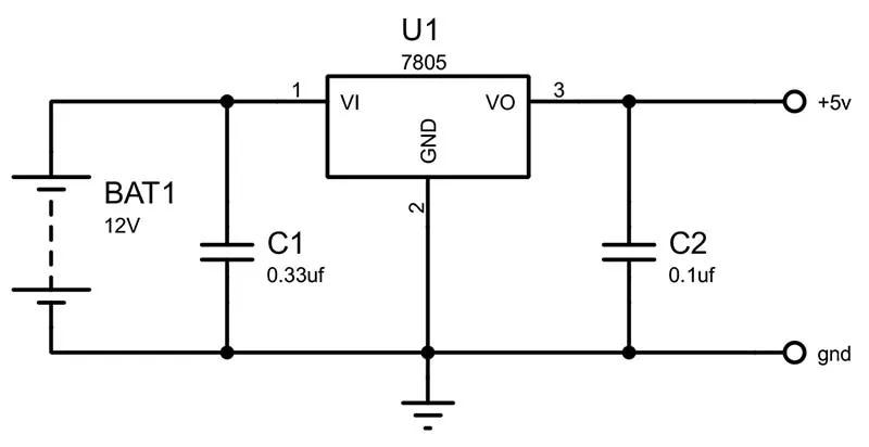 5v power supply using 7805 regulator