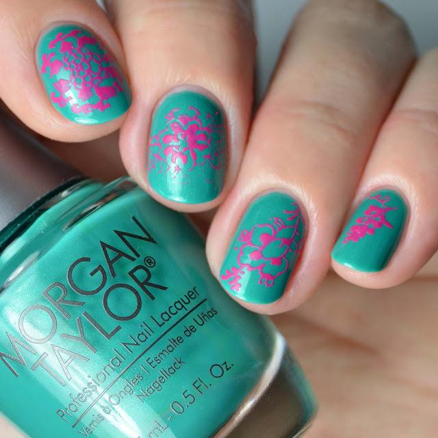 neon summer flower nail art