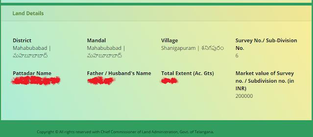 dharani portal land details search