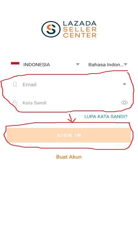 Form Login Akun Lazada Seller Center di Smartphone.