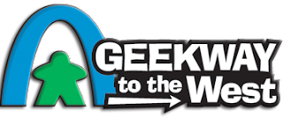 The Geekway to the West Logo: a green meeple under a blue arch that resembles the Gateway to the West arch in St Louis. Next to that, in white letters, is the title, with a white arrow pointing to the right under the 'to the' part of the title.