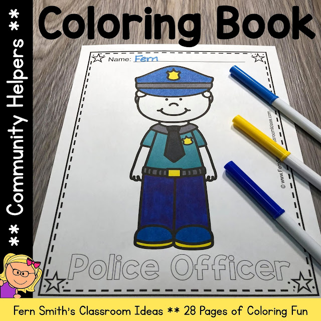 You will LOVE the 28 Community Helpers Coloring Pages that come in this Community Helpers coloring pages resource! Terrific for a daily coloring page OR have a parent volunteer bind them into a COMMUNITY HELPERS COLORING BOOK for your students. Your students will ADORE these coloring pages because of the cute, cute, cute Community Helpers graphics! Your students can also draw in a Community Helpers background and write about their coloring book page on the back. Use these coloring pages for all sorts of jumping off points for older students to use during their Community Helpers creative writing lessons! Add it to your plans to compliment any Community Helpers Unit! Download these 28 Community Helpers Coloring Book Pages for some INSTANT Community Helpers Coloring Joy in your home or classroom!