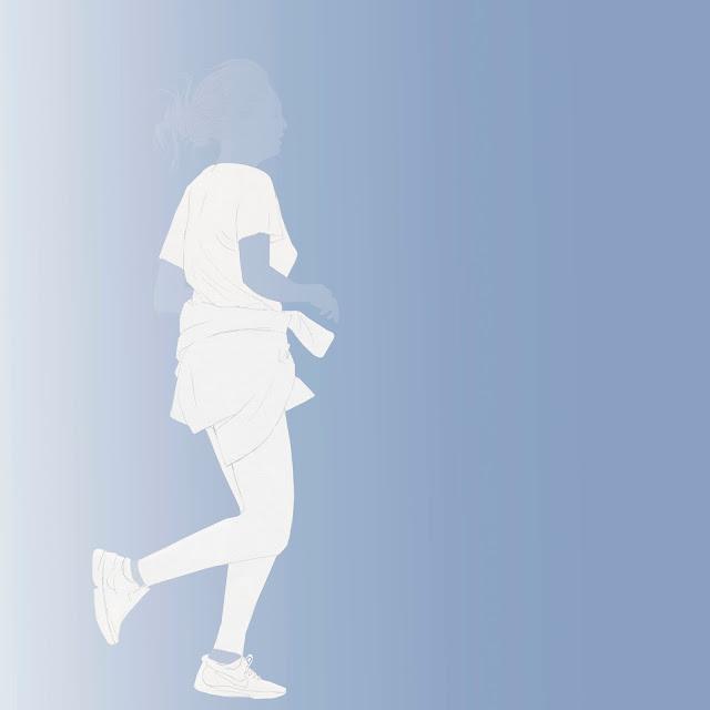 dibujo, mujer , corriendo