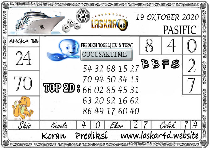 Prediksi Togel PASIFIC LASKAR4D 19 OKTOBER 2020