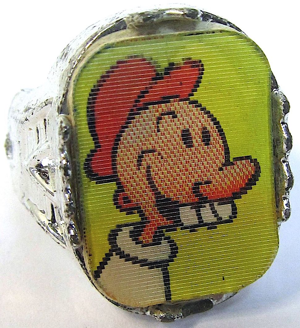 a 1960s flicker ring showed different images when seen from other angles, Swee' Pea from Popeye