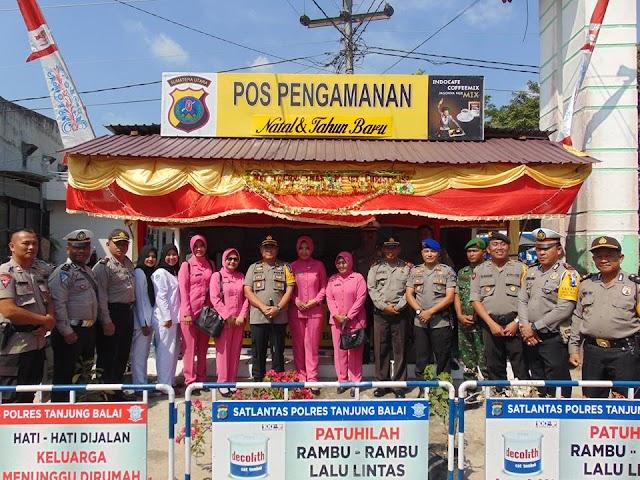 Kapolres Tanjung Balai Beserta PJU dan Bhayangkari Lakukan Pengecekan Pos Pam I s/d IV Natal 2018 dan Tahun Baru 2019