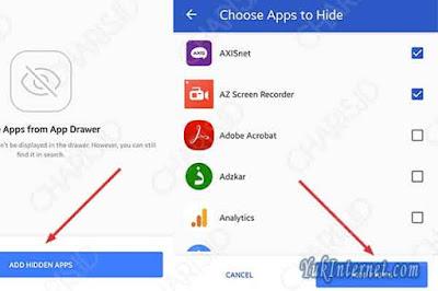 menyembunyikan aplikasi apex launcher