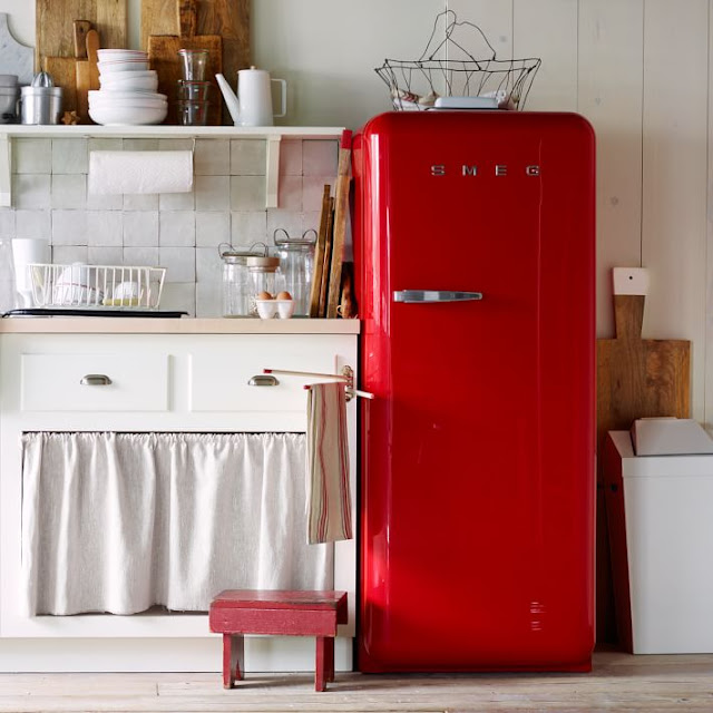 Red Smeg Refrigerator. So cute! I would love to have one of these!