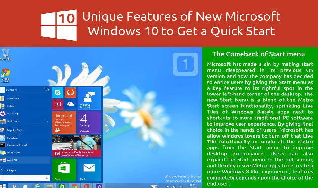 10 Unique Features of New Microsoft Windows 10 to Get a Quick Start #infographic