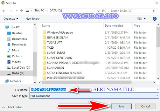 menyimpan info gtk ke format pdf