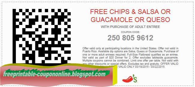 graphic regarding Chili Printable Coupons titled Printable Discount coupons 2019: Chilis Discount coupons