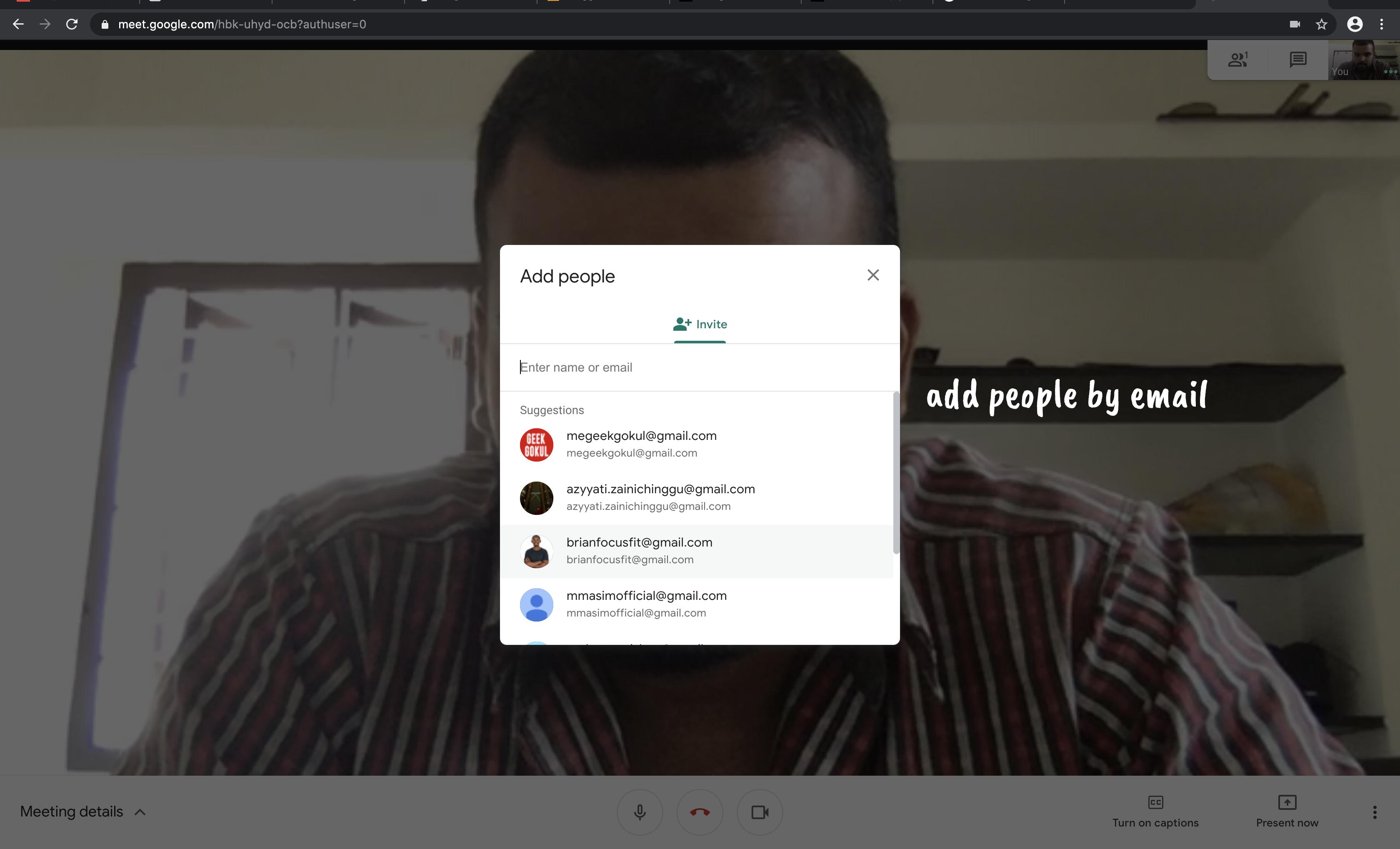 Google Meet add people