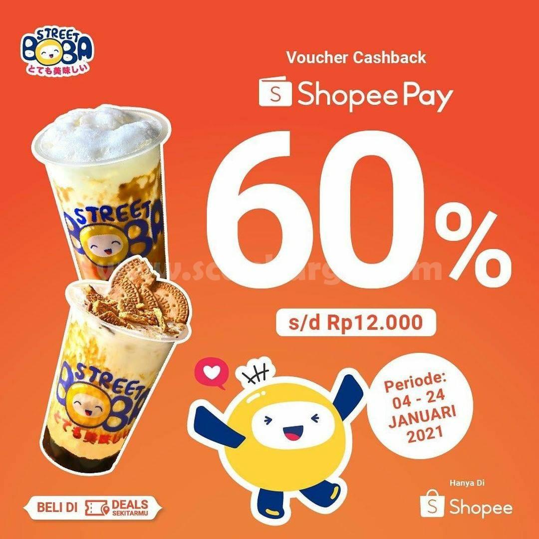 Street Boba Promo Cashback 60% untuk Transaksi dengan Shopeepay