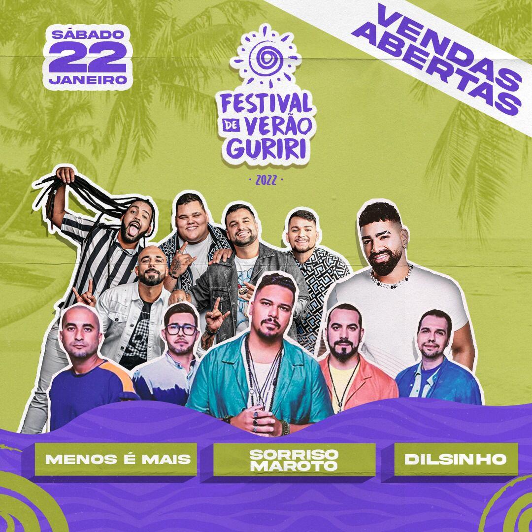 Dilsinho, Sorriso Maroto e Grupo Menos é Mais no Festival de Verão Guriri 2022 em Janeiro