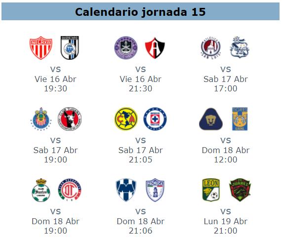 Calendario de la jornada 15 del futbol mexicano