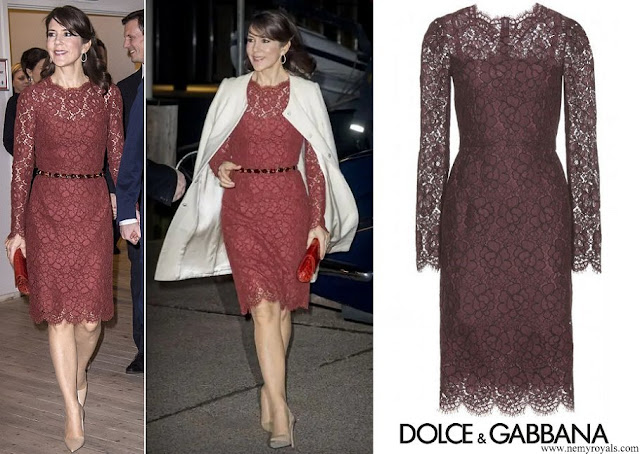 Crown Princess Mary wore a plum floral lace dress by Dolce and Gabbana