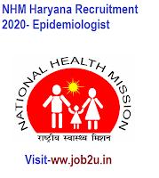 NHM Haryana Recruitment 2020, Epidemiologist