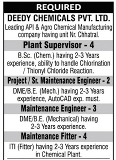 ITI, Diploma, B.E., B.Sc Job Vacancy For Supervisor, Engineers, and Fitters in Deedy Vhemicals Pvt. Ltd.