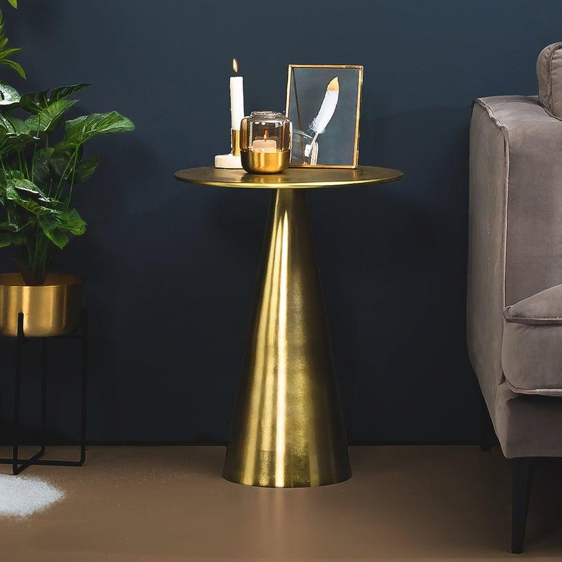 złoty okrągły stolik