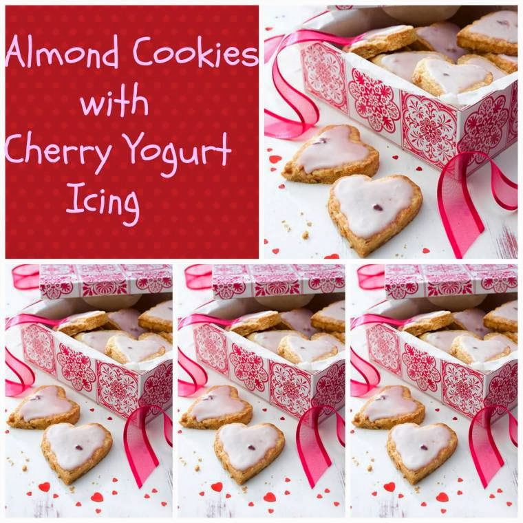 Almond Cookies With Cherry Yogurt Icing: Valentine Day