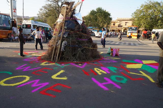 Holika Bonfire, Festival Holi di Jaipur, India