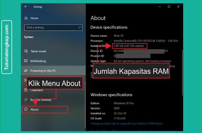 Tutorialengkap 5 Cara Mudah Melihat jumlah RAM pada Laptop atau komputer tanpa aplikasi tambahan