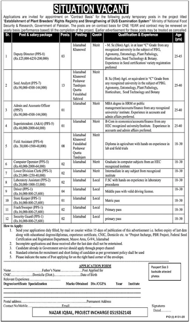 Ministry of National Food Security & Research Jobs 2021 in Islamabad