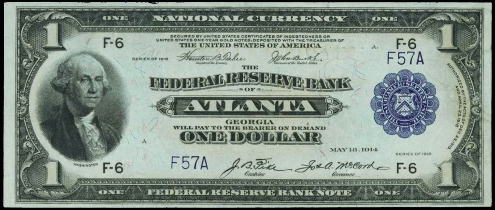 One Dollar Federal Reserve Bank Note 1918 Atlanta